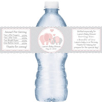 Elephant Pink Baby Shower Personalized Water Bottle Labels