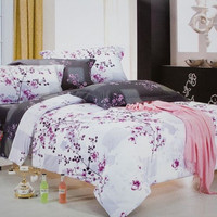 Blancho Bedding Plum in Snow Luxury 5PC Comforter Set Twin Full Queen King Sets