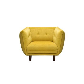 Venice Button Tuft Fabric Chair Yellow