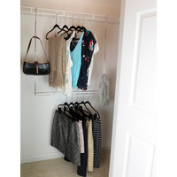 Evelots Closet Doubler Hang Rod,Chrome & Steel Organizer Space Saver