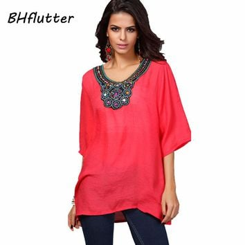 Hand Beading Embroidery Blouse Shirt Women Casual Cotton Linen Summer Tops Half Sleeve Casual Blouses