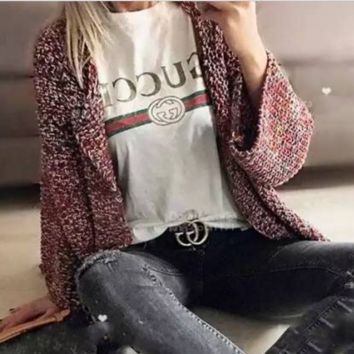 """Gucci"" Fashion Casual Hot letters print T-shirt top White G"