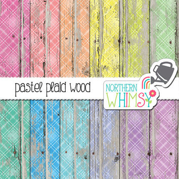 Plaid Wood Digital Paper - pastel plaid on peeling paint - tartan distressed wood scrapbook paper - printable paper - commercial use OK