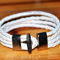 White Leather Woven with Metal Buckle Women Leather Jewelry Bangle Cuff Bracelet CP54