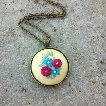 Boho Gipsy Chic Jewelry, Cute Pink Blue Flowers Necklace, French Knot Embroidery