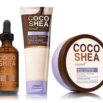 3 SET Bath & Body Works COCO SHEA COCONUT Body Buff / Body Butter / Hair Serum