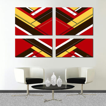 "Made to order. Original abstract painting. 4 piece canvas art. 51x33"" Large painting with red, yellow, brown. Huge painting. Red painting."