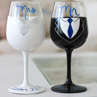 Mr. and Mrs. Bride and Groom Wine Glass