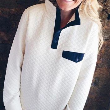 Quilted Snap-T Pullover