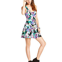 Material Girl Juniors Dress, Sleeveless Floral-Print Heart-Cutout Skater - Juniors Dresses - Macy's