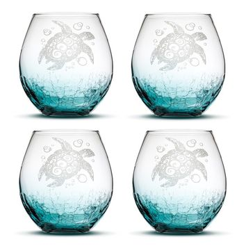 Crackle Teal Wine Glass, Sea Turtle, Dolphin, Shark, or Stingray Selection, Hand Etched (Set of 4)