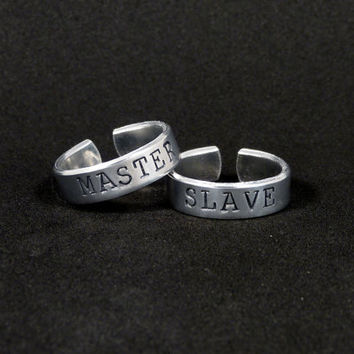 Slave and Master Rings - S&M - BDSM - Aluminum Ring Set