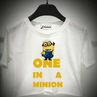 One in a minion - Despicable me - crop top - Unisex T-Shirt S M L - Print on fabric - Emzeem by PJ