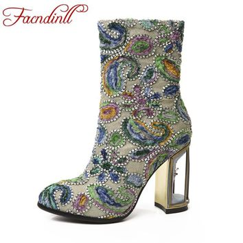 FACNDINLL fashion women high qulaity ankle boots shoes sexy high heels round toe zipper shoes woman party wedding riding boots
