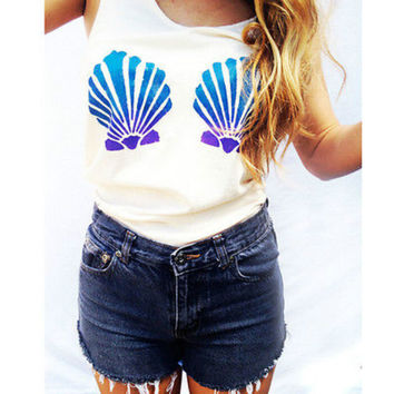 New Mermaid Women Tank Tops Casual Loose Vest Top Sleeveless Summer Tank Tops