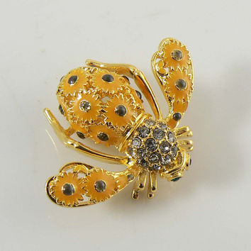 "Joan Rivers ""SUNFLOWER"" Enamel and Crystal Bee Pin / Brooch"