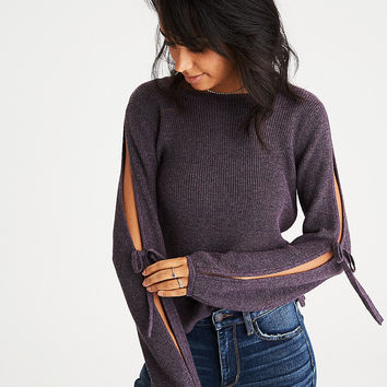 AEO Open Tie-Sleeve Sweater, Purple