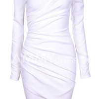 White Off-Shoulder Ruched Mini Dress