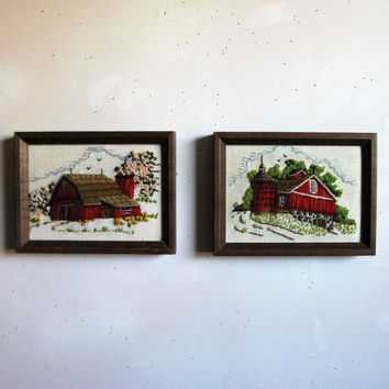 Vintage Autumn 70s Wall Hanging 2 Red Farm House Crewel Embroidery Wall Hanging Home Décor