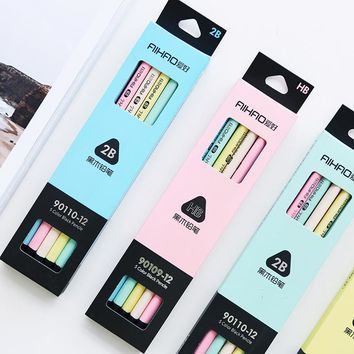 12 pcs/Lot 5 color black & pastel pencil Wood Standard 2B Macaron pencils for drawing Stationery Office school supplies