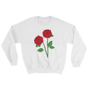 Rose Crewneck Sweatshirt White