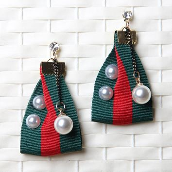 Striped Ribbon with Pearls Drop Earrings