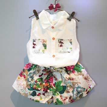 2PC Sleeveless Shirt Set Floral Print