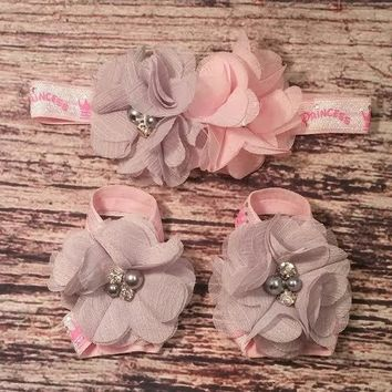 Pink and Gray Chiffon Princess Baby Girl Headband and Barefoot Sandal Set!