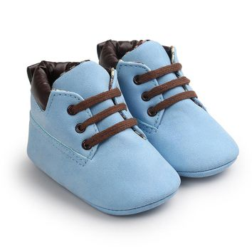 Blue Color Fashion Design Baby Leather Shoes Infant Toddler Sneaker First Walkers 0-15 Months Newborn Baby Boots