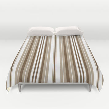 Pacific Stripe: Neutral Brown Combo Duvet Cover by Eileen Paulino