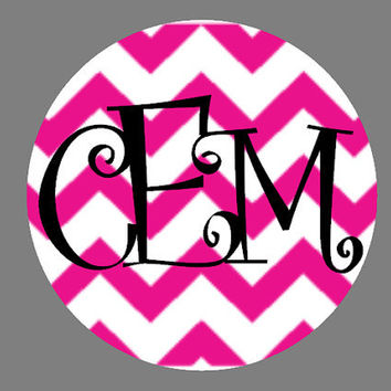 Chevron Monogram Car Decal, Custom Vinyl Decal, Pink Chevron Decal