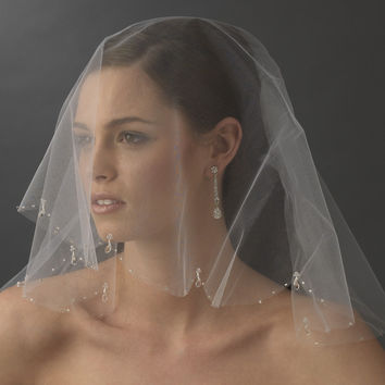 Russian Blusher Veil with Crystal Drops