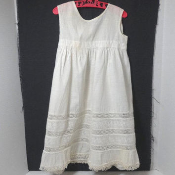 1950s Vintage Bellas Hess & Co. Baby Girl Slip or Dress in White with Fabulous Lace Inserts, Baby or Toddler Size, Vintage Baby Clothing