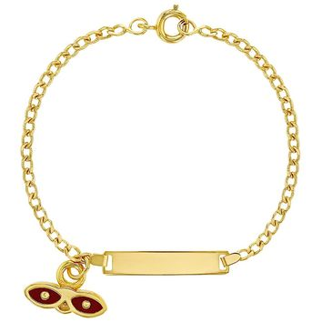 18k Gold Plated Red Enamel St Lucy Lucia Evil Eye Protection Charm Bracelet 5.5""