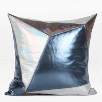 "Blue and Silver Three Color Faux Leather Pillow 16""X16"""