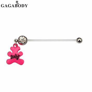 316L Surgical Steel Pregnant Woman Body Piercing 1PC Navel Dangle Belly Button Ring Bar Barbell 3 Colors