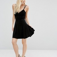 New Look Petite Lace Trim Velvet Slip Dress at asos.com