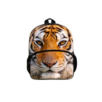 Cool Backpack school 2017 New Children Personalized Fashion Cool 3D Tiger Felt The Earthquake Shoulder Backpack Burden  Shipping AT_52_3