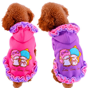 Newest Small Puppy Clothes Pink Purple Girl Princess Floral Edge Winter Pets Dresses Coat For Cats Animals Chihuahua Pitbull