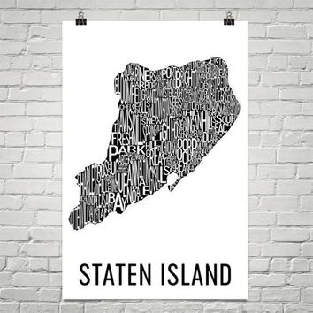 Staten Island Neighborhood Typography Prints – Modern Map Art