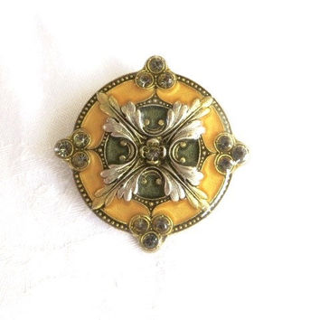 Catherine Popesco France Enamel Brooch Fleur de Lys Pin Vintage French Jewelry