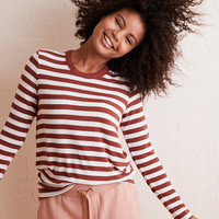 Aerie Real Soft® Ribbed Long Sleeve Tee, Koko Brown