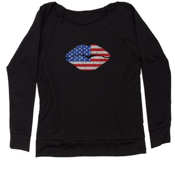 Patriotic Lips with USA Flag Slouchy Off Shoulder Oversized Sweatshirt