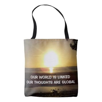Global Photo Quote by Kat Worth Tote Bag