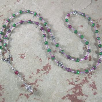 Morpheus Prayer Bead Necklace in Ruby/Zoisite: Greek God of Dreams