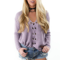 Star Of The Show Dusty Rose Lace up Sweater