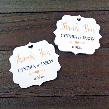 Personalized Thank You Wedding Favor Tags White or Ivory Thank You Heart Tags - Your Custom Text and Color