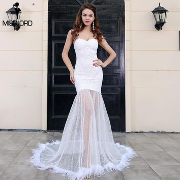 Missord 2018 Sexy BRA  off the shoulder  lace zipper feathers maxi dress FT8264