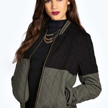 Emily Colour Block Quilted Bomber