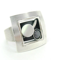 Minimalist Geometric Ring Moonstone Glass Thick Silver Tone Metal Curved Square Top Anodized Vintage Artisan Handmade Signed POLY Canada